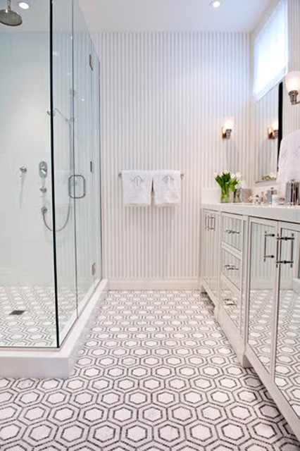 Lastest Use Hexagon Tiles All Over Your Bathroom To Get A Chic Modern Look! They Can Be Used On The Walls And On The Floors, Or Both, Just Choose Different Colors And Shades Actually, Honeycomb Tiles Can Fit Any Style Depending On The
