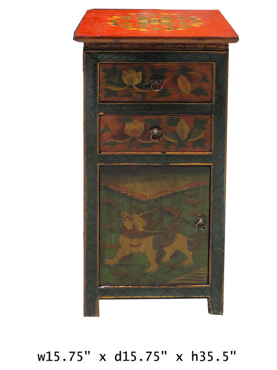 Tibetan Animal Graphic 3 Sides Chest Table -