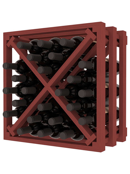 Lattice Stacking X Wine Cube in Pine with Cherry Stain - Designed to stack one on top of the other for space-saving wine storage our stacking cubes are ideal for an expanding collection. Use as a stand alone rack in your kitchen or living space or pair with the 16-Bottle Cubicle Wine Rack and/or the Stemware Rack Cube for flexible storage.