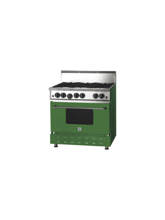 "36"" BlueStar RNB Gas Range - Emerald (RAL Color #6001) 36"" RNB Gas Range that has 6 Top Burners"