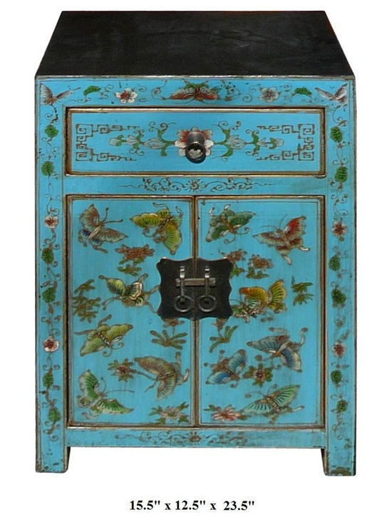 Turquoise Color Butterflies & Flowers Graphic Night Stand / End Table - This elegant night stand is made of solid elm wood and hand painted with butterflies and flowers graphic on the front side.