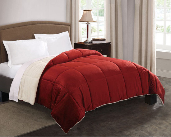 None - Faux Fur Reversible Down Alternative Comforter - This faux-mink solid color reversible comforter is filled with down alternative polyester.   Comforters have a deluxe faux-mink front and matching solid color micro fur back and are quilted for greater comfort.