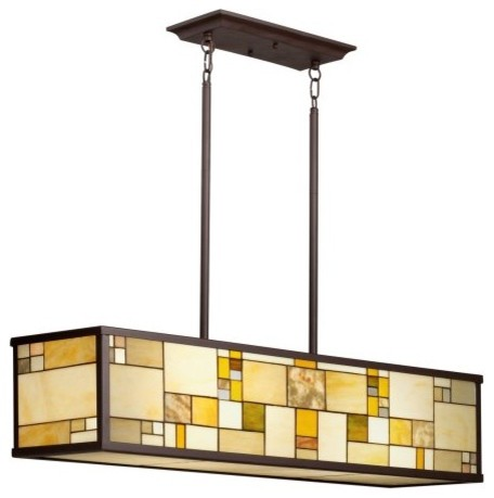 Kichler 65338 Riverview Tiffany 4-Light Island Pendant - 10W in. Olde Bronze modern pendant lighting