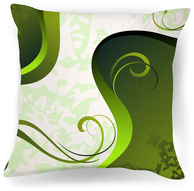 Modern Pillows And Throws : Abstract Green and White Modern Throw Pillow - Contemporary - Decorative Pillows - by Ambiance ...