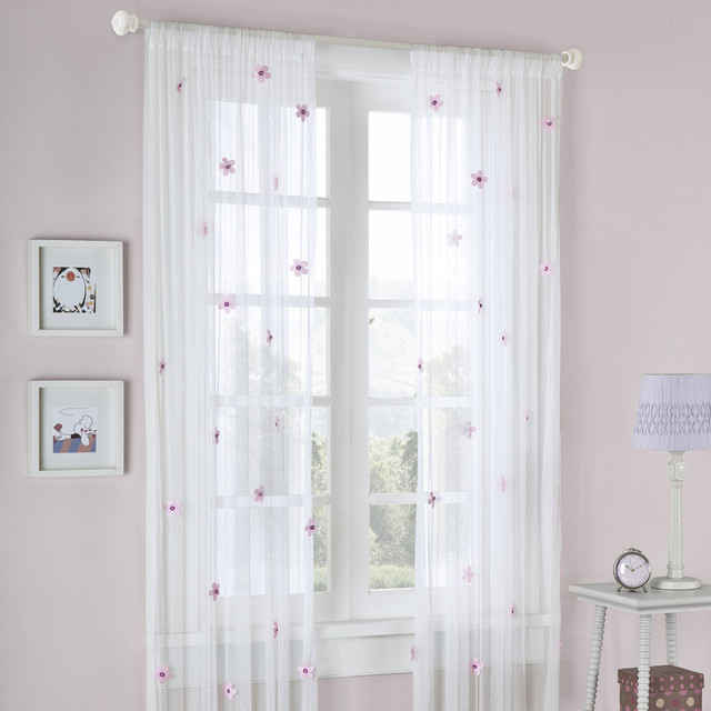 Mi Zone Taylor Flower Sheer Curtain Panel - Contemporary - Curtains ...