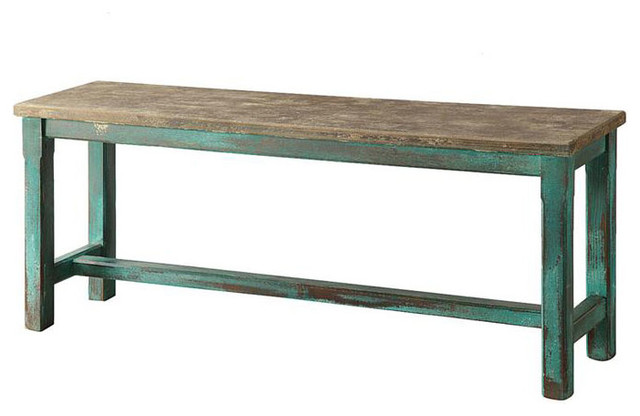 Green Distressed Bench Industrial Accent And Storage Benches By Dot Bo