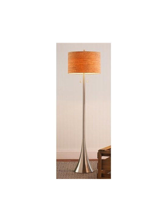 Modern Flair Floor Lamp - A satin nickel trumpet shaped base holds a natural cork drum shade for the perfect contrast of natural texture and modern metallics. Warm up your modern space with this transitional floor lamp.