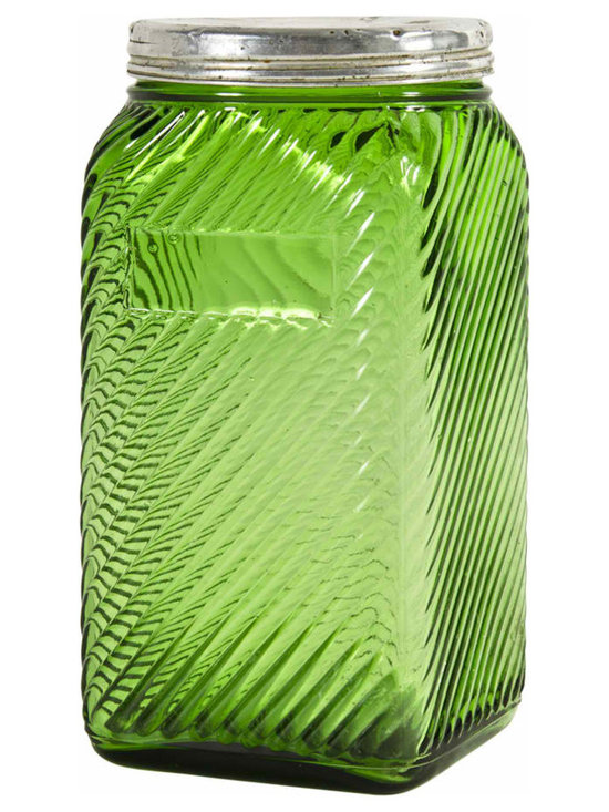 Diagonal Ridged Canister - Owens-Illinois Forest Green 40 oz diagonal ridged canister with original lid. Owens marking on bottom, square shape