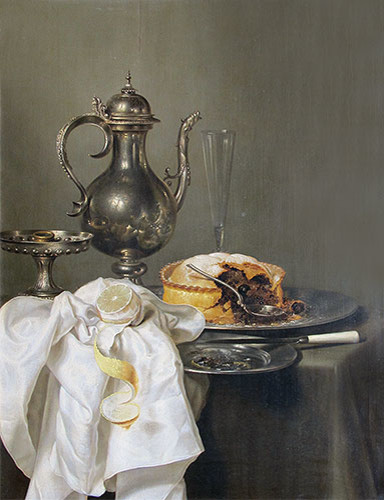 Still Life with Silver Ewer and Pie | Willem Claesz Heda | Canvas Print midcentury-prints-and-posters