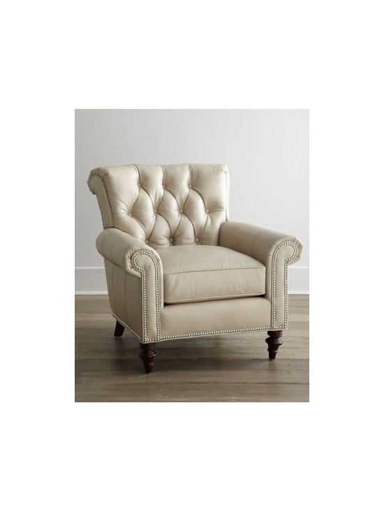 """Horchow - Starlite Leather Chair - Classic rolled-arm chair takes on new allure with turned front legs and a button-tufted back. Neutral nailhead trim outlining the arm panels and base add a distinctive touch. Leather upholstery. 36.5""""W x 38.5""""D x 36.5""""T. Imported. Boxed weight, appr..."""