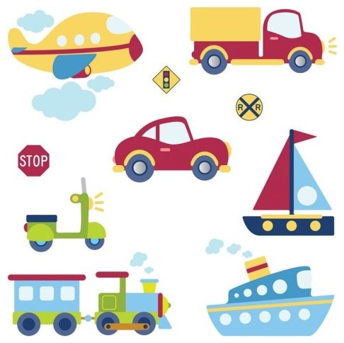 Transportation Collection Wall Decal contemporary decals