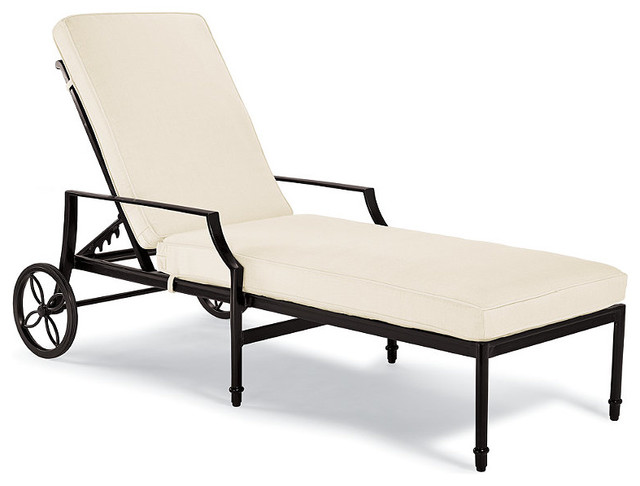 Grayson outdoor chaise outdoor lounge chair with cushions for Black and white chaise lounge cushions