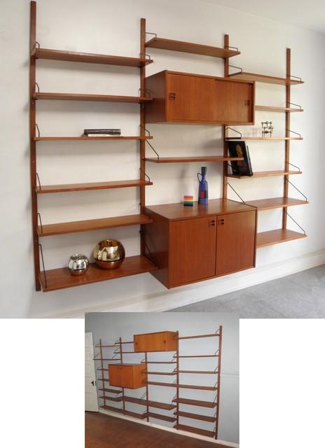 Huge 4 bay teak Danish Modern wall unit - Midcentury - Display And Wall Shelves - philadelphia ...