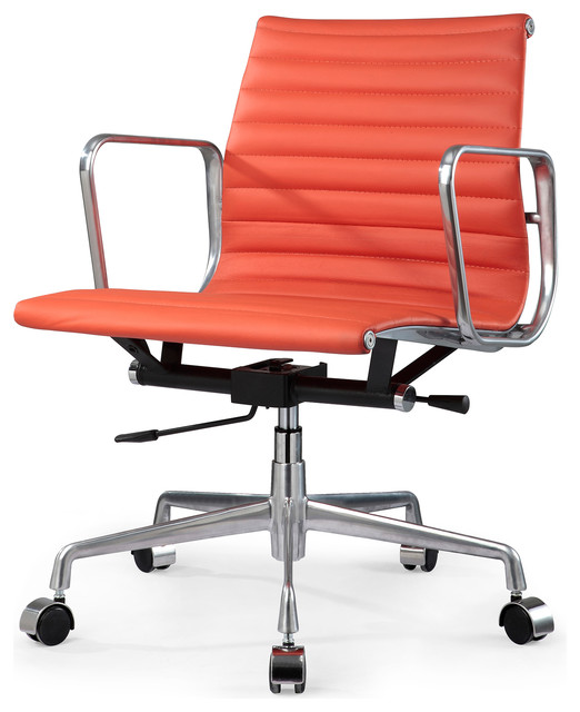 eames aluminum group style office chair in orange leather modern task