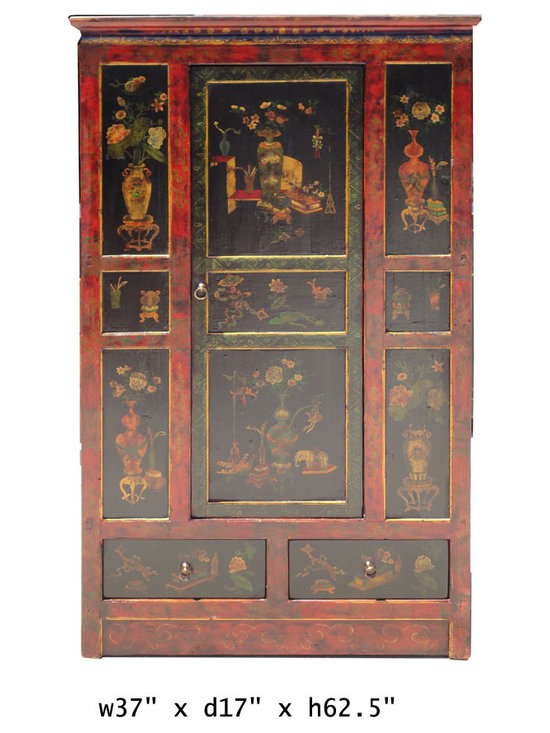 Tibetan Chinese Red Black Flower Vase Storage Cabinet - This cabinet has nice hand painted graphic of oriental flowers and vases on the front. It is a center one door opening design with two drawers at the bottom.