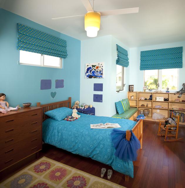 Twin girls bedroom eclectic-kids