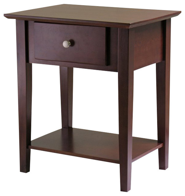 Winsome Shaker Nightstand With Drawer In Antique Walnut
