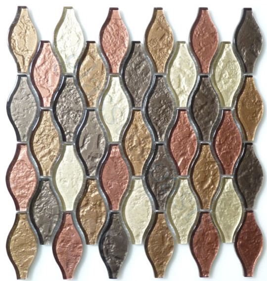 Seagull Copper Back Unique Shapes Bronze/Copper Kitchen Glossy Glass modern-tile