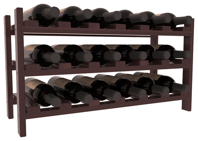 18 Bottle Stackable Wine Rack in Redwood, Walnut Stain + Satin Finish contemporary-wine-racks