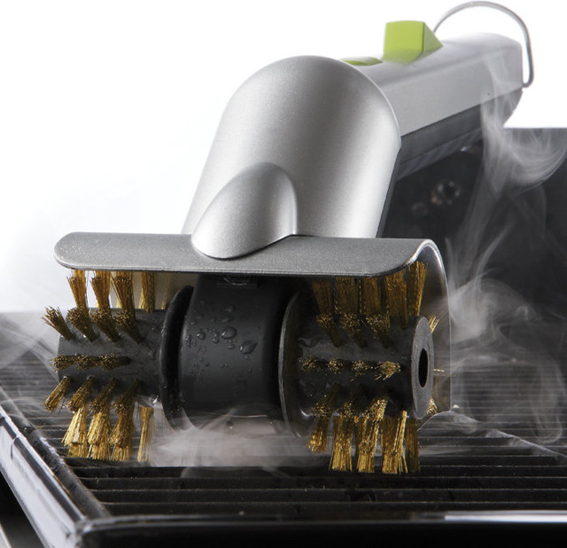 Motorized Grill Brush With Steam Cleaning Power contemporary-grill-tools-and-accessories