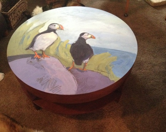 Hand Painted Coffee Table, Custom design, Puffins -