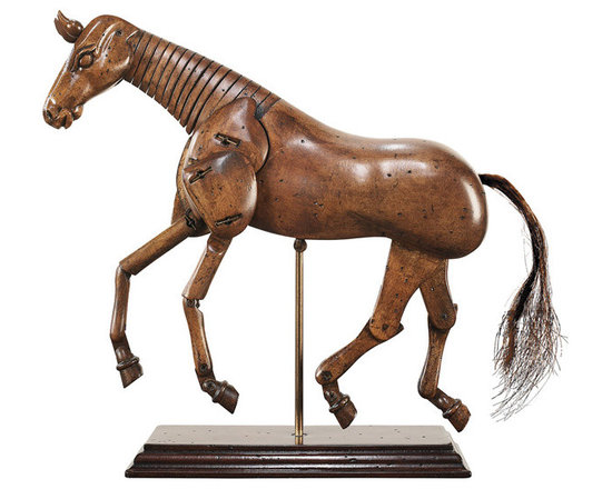 """Inviting Home - Horse Model - horse model 8-3/4""""x 2-3/8""""x 9-1/8"""" Art is forever life is short is the Latin expression. This from an age when art was considered a learned craft for the talented. When ateliers were filled with articulated art models and plaster casts of classic sculpture. When masters had an apprentice finish the lesser details of now famous paintings. Finesse and expertise were pre-eminent goals. Both our art and our artist models closely match the style and content of ages past. Renaissance painters and sculptors of renown worked in ateliers with students apprentices and trained artists at hand. These studio-workers are the source of many paintings and sculptures referred to at auction or in literature as: """"from the workshop of"""" or """"in the style of"""" or """"from the circle of""""... The walls of these workshops were filled with plaster casts of classic sculptures. Casts of busts hands feet legs arms torsos... Articulated wood models of the human form and of horses were in demand for everyday use. In our time antique art models have always been in demand by cognoscenti for their esoteric presence. Horse model is sculpted in wood elaborately jointed and movable. Highly expressive they love to convey a message! In style and classic taste�"""