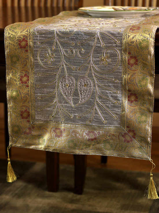 """Elegant Table Runners - Elegant Silver """"Ornamental Embroidered"""" table runner. Hand crafted in India. Great complement to any table top."""