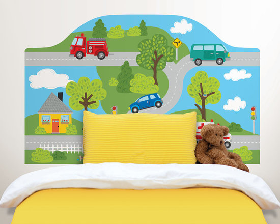 Headboards - Give any space an instant headboard and add a playful touch to a child's room with this fun road scene headboard decal.
