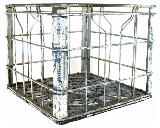 """Metal Milk Crate - This is a vintage Superior milk crate. Marked 'Superior DY 2 86"""" on sides. Has a wonderful painted patina as shown in close up photo."""