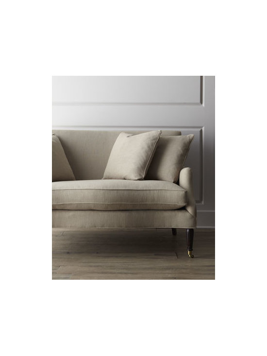 """Horchow - Lora Settee - Trim lines and a neutral """"driftwood"""" color give this settee a minimalist appeal while sinuous spring construction and feather/down fillers in the seat and cushions provide maximum comfort. Engineered hardwood and plywood frame with mortise and tenon jo..."""