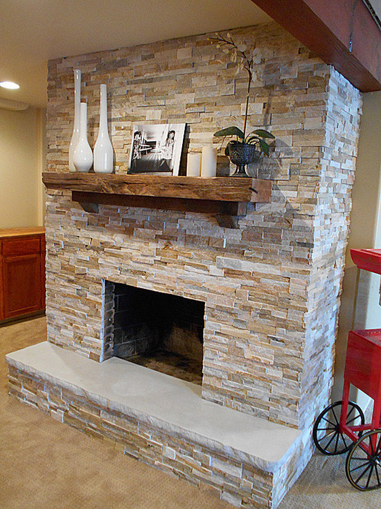Fireplace Hearth, 7' with split stone edge detail -