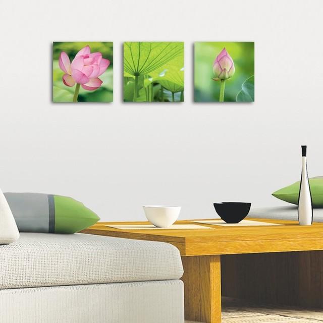 Modern Glass Wall Decor : Platin art s deco glass wall decor lotus set of