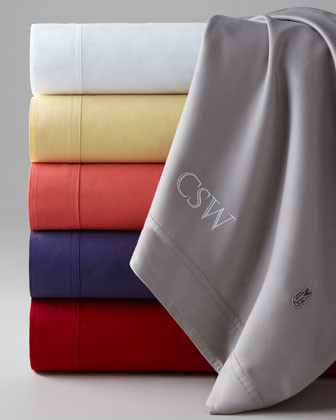 Lacoste Full Sheet Set, Monogrammed traditional-sheets