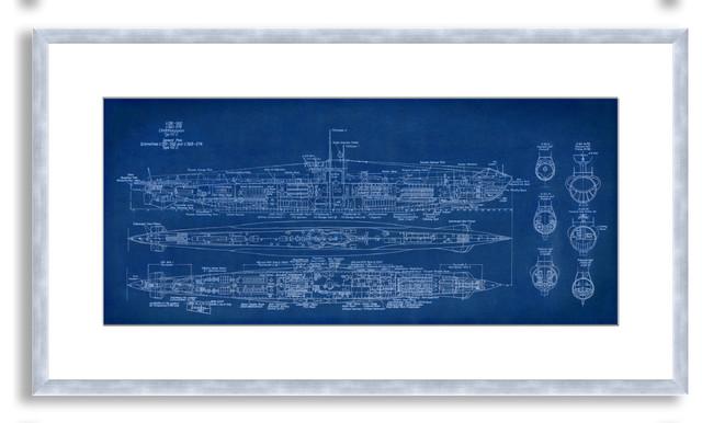St. John's 'Submarine Blueprint' Framed Paper Art, 38x21 - Contemporary - Fine Art Prints - by ...