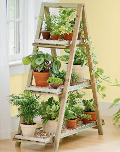 A-Frame Plant Stand Set contemporary-plant-stands-and-telephone-tables
