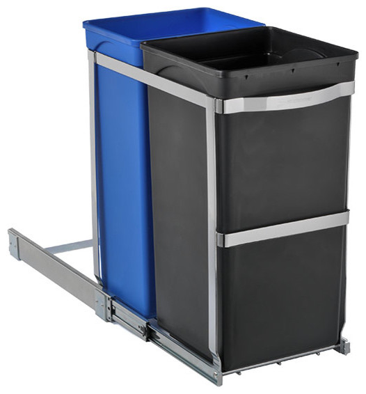 simplehuman® 2-Bin Pull-Out Recycler contemporary-kitchen-trash-cans