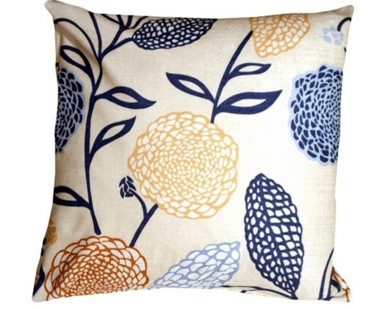 """Pillow Decor Ltd. - Pillow Decor - Country Floral Throw Pillow - This large 22"""" x 22"""" pillow has a distinctive floral design. Bring summer alive in your home with these fantastic throw pillows. They combine the beautiful look and feel of linen with the practicality of durable polyester."""