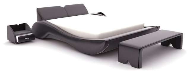Black Leatherette Modern Bed contemporary-beds