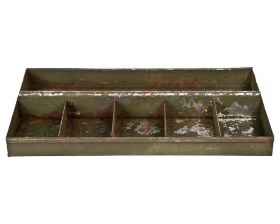 Rustic Metal Tray - Steel tool or parts tray with primitive green flaking paint. Once used in the garage, gas station or workshop.