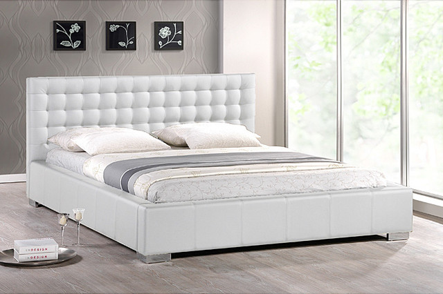 Madison White Modern Queen Size Platform Bed Contemporary Beds By
