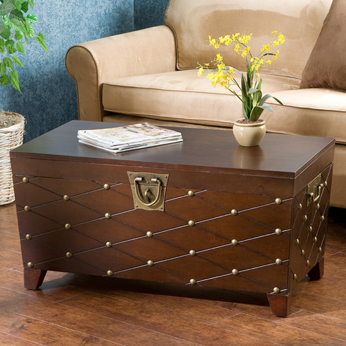 Calvert trunk coffee table with lift top modern coffee - Trunk style coffee tables ...