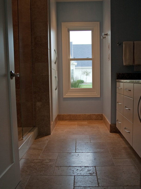 """Considering Carpet? Roll Out the Stone Instead! - Bath.  NSVI """"Windsor"""" stone travertine floor."""