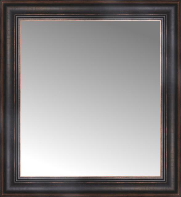 24 x 26 aged bronze slope custom framed mirror for Custom framed mirrors