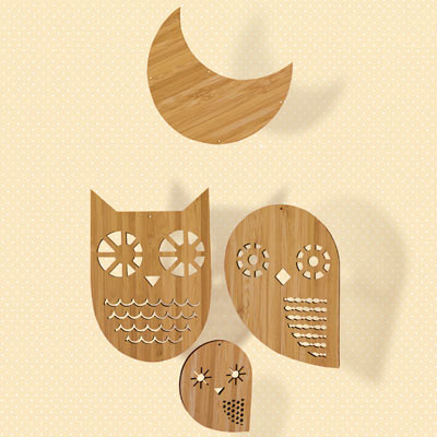 Petit Collage Owl Family Mobile modern mobiles
