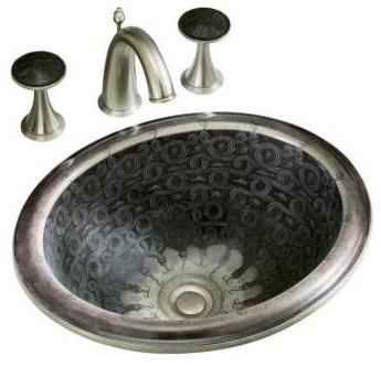 KOHLER K-14234-SP-G9 Serpentine Bronze Design on Intaglio Self-Rimming Lavatory traditional-bathroom-sinks