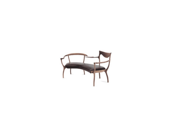 Eco Friendly Furnture and Lighting - Two seater in solid American cherry-wood or American walnut, seat in upholstered plywood. Tray with silver finished sandblasted glass top.