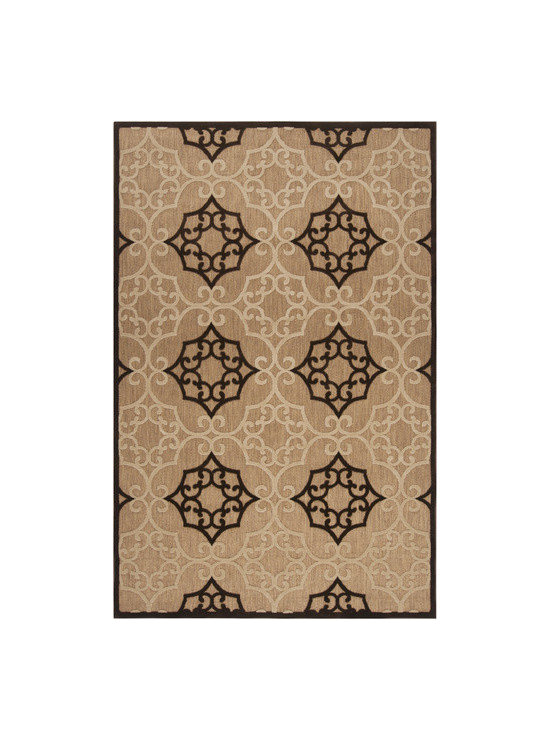 Surya - Portera Tan/Ivory Rug - Features: -Construction: Machine made. -Material: 100% Olefin. -Origin: Turkey. -Collection: Portera. -Use for Indoor/outdoor.