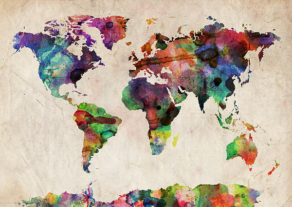 World Map Watercolor Digital Art by Michael Tompsett contemporary-artwork