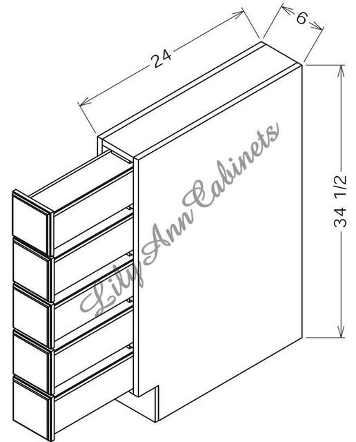 RTA Hickory Walnut Base Cabinets BSDC6 - Base Spice Drawer Cabinet ...