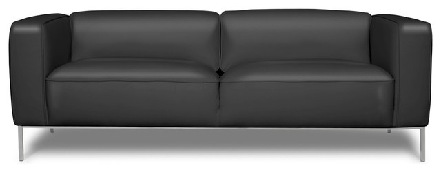 Tate Black Leather 3 Seat Couch contemporary-chairs